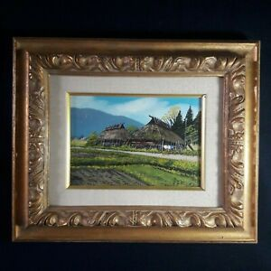 VTG.Original Landscape Country Art Oil Painting On Canvas Signed Japan Nichigaku