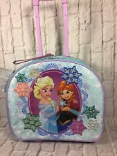 Disney Store Frozen Anna Elsa Rolling Wheels Luggage Trip Adjustable Handle