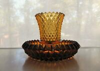 Indiana Glass Amber Diamond Point Candle Holder with Votive Cup
