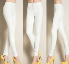 Women High Waist Skinny Stretchy Pencil Trousers Pantent Leather Slim Fit Pants