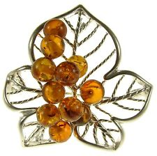 Baltic Amber Sterling Silver 925 Ladies Flower Leaf Brooch Pin Jewellery Jewelry