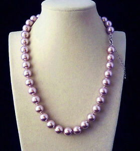 """AAA Genuine 10mm Purple Round South Sea Shell Pearl Beads Knoted Necklace 18"""""""