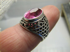 EXCELLENT DISIGN OLD VINTAGE STERLING SILVER RING w STONE #1094