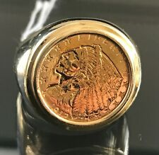 1912 Liberty Eagle 2 1/2 Dollar Coin 14k Gold Man's Ring Size 10.5