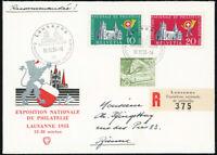 SCHWEIZ 1955, MiNr. 611-612 aus Block 15, wunderschöner R-Brief, Mi., 100,-