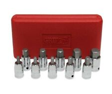 "GRIP 10pc SAE 3/8"" & 1/2"" Hex Bits Sockets Hex Allen Standard Tools Set 71070"