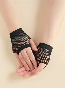 SHORT Fishnet Gloves Lace Fingerless Punk Emo Hen Party Fancy Dress Tutu Rave