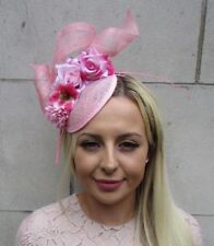Hot Light Pink Sinamay Rose Flower Feather Hat Fascinator Races Hair Ascot 5859