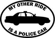 "RIDE POLICE CAR OCCUPATION Vinyl Decal Sticker-6"" Tall White Color"