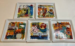 "CRATE & BARREL Road Trip City Party Plates Tapas Dessert Appetizer 5.75"" Set 5"