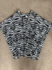 H&M SHEER KIMONO BLOUSE TOP ZEBRA PRINT 12 14 16 MONO BLACK