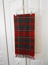 """RED, GREEN, WHITE PLAID CASHMERE SCARF  11 X 47"""" FRINGE 2"""""""
