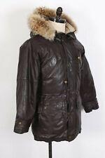 VTG EDDIE BAUER Goose Down Leather Coyote Fur Coat Jacket Parka Mens Small