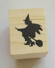 Wood Backed Rubber Stamp Hero Arts Halloween Witch Flying Broomstick