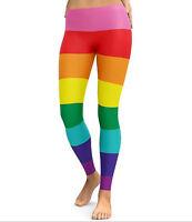 Women Colorful Multicolor Rainbow Stripe Slim Jeggings Yoga Party Pants Leggings