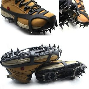 18Teeth Ice Snow Climbing Walking Boot Shoe Cover Spike Cleats Crampons New QN18