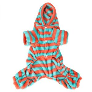 Autumn Winter Soft Fleece Dog Stripe Clothes Hoodies For Small Dogs Puppy Cats