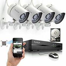 Funlux POE 4*Outdoor Security Camera System 4CH NVR System 500GB HDD Renewed