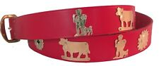 NEW red leather wide Swiss Appenzell belt folklore Switzerland gold M L