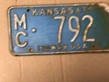 1967 Kansas License Plate 792 Mitchell County Original Midway USA Plates 67