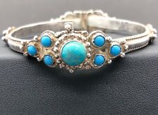 Sterling Silver Turquoise Bangle Bracelet Hinged Sliding Pin Clasp