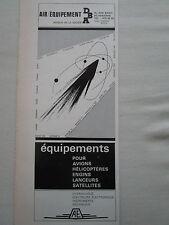 1967-68 PUB DBA AIR EQUIPEMENT ASNIERES MIRAGE CARAVELLE CONCORDE ESRO FRENCH AD