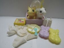 VINTAGE MY LITTLE PONY NEWBORN TWINS BABY BIG TOP AND TOPPY + ACCESSORIES