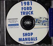 1981 Ford Truck Shop Manual CD F100 F150 F250 F350 Bronco E100-E350 Van Service