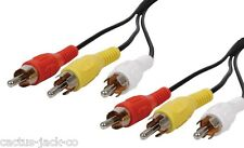 NEW 10M LONG 3 X RCA/PHONO/CINCH MALE TO MALE CABLE