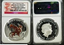 2012 Tuvalu $1 SILVER Red Welsh Dragon PF 69 Ultra Cameo (NGC)  #341027