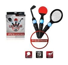 3 En 1 Sports Pack Raqueta De Tenis Club De Golf Ping Pong Para Playstation 3 Ps3 Move