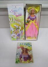 Vintage 1995 Mattel Avon Spring Blossom Blond Barbie #15201 w/Avon Book NIB