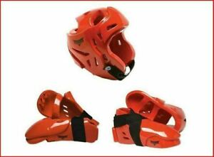 Red Sparring Gear Set Head/Helmet Hand Foot Guards Karate Pads Youth or Adult