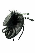 Ladies Sinamay Feather Wedding Races Occasion Headband Clip Flower Fascinator UK
