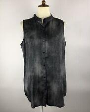 Eileen Fisher Tunic Top Size M Black Button Down Hi-low Sleeveless Silk Blend