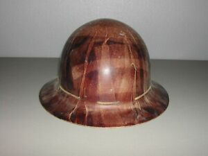 Vintage MSA Skullgard Hard Hat Suspension Light Fiberglass Tan Full Brim