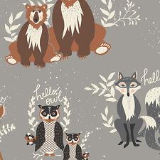 By 1/2 Yard Hello Bear Oh, Hello Fog Art Gallery Fabric AGF Owl Fox Deer Raccoon