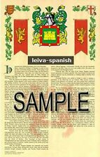 LEIVA Armorial Name History - Coat of Arms - Family Crest GIFT! 11x17
