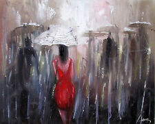 100%Hand-painted Oil Painting Figure Girl Landscape art 16*20inch Decoration