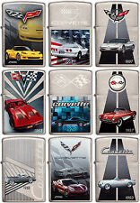 Zippo Chevrolet Corvette Set of 9 WindProof Brushed Chrome Lighter RARE NEW L@@K