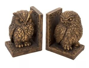 Pair Of Owl Book Ends Bronze Effect