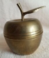 Vintage Brass Apple Candy or Trinket Dish with Lid