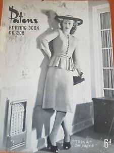 RARE PATONS VINTAGE  ladies KNITTING PATTERNS no 208