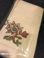 Pottery Barn Crewel All Napkins S/4 Holiday Embroidered Flower Cream Canvas New
