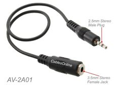 1ft 3.5mm Stereo Female to 2.5mm Stereo Male Audio Speaker/Headset Adapter Cable