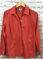 Worthington blouse shirt womens 16 vneck cayenne button front New Long slv AA