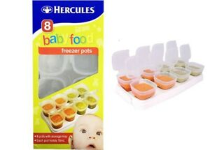 8x 70ml Hercules Baby Food Puree Freezer Containers Pots With Stackable Tray
