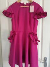 TED BAKER LUUCIEE BNWT RUFFLE DETAIL SKATER DRESS  Deep Pink Size 3 UK12
