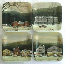 Set of 4, Norman Rockwell, Christmas, Mainstreet, Stockbridge, Square Plates