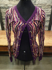 COOGI Cardigan Sweater Snap Up Purple Metallic Cotton/Acrylic Women's Size S EUC